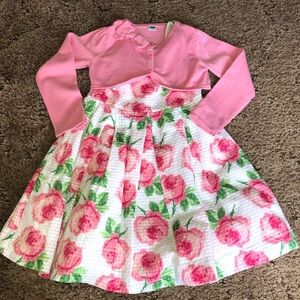 Janie and jack floral dress with cardigan